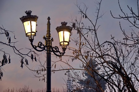 sofia: Old style garden electric lighting after sunset, Sofia, Bulgaria