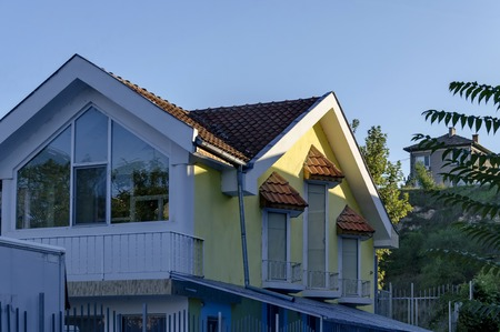parget: Fragment of new contemporary house in old quarter, Razgrad town, Bulgaria Stock Photo