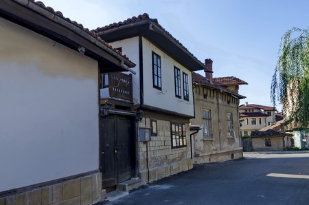 revival: Razgrad town, street and house. Old house in revival quarter Varosha, Razgrad, Bulgaria Stock Photo