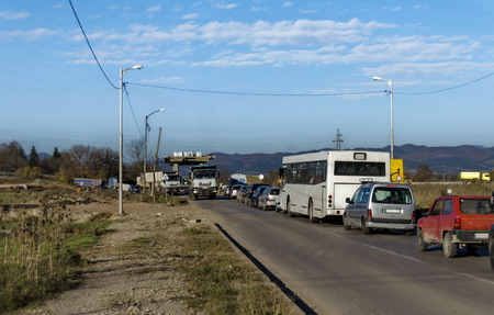 Part from bridge above new construction of road with rows of cars, Benkovski, Sofia Stock Photo