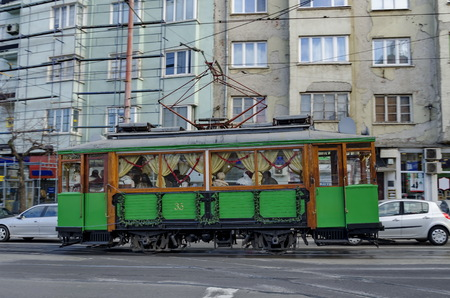 RETRO Vintage Tram Siemens on the streets of Sofia in december 2015, Bulgar. New Years journey with Santa Claus in Sofia, Bulgaria. Editorial