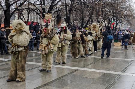 Part of  international  festival of the folk masquerade. Mummer from Bulgaria, Europe, Asia in the Pernik, Bulgaria