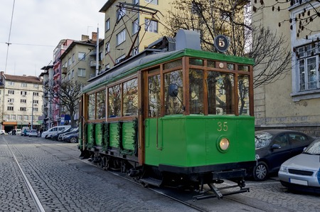 RETRO Vintage Tram Siemens on the streets of Sofia in december 2015, Bulgaria. New Years journey with Santa Claus in Sofia, Bulgaria.