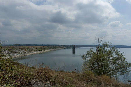 gather: View of largest  dam lake Ogosta gather water of three river -  Ogosta, Barzia and Zlatitsa, Bulgaria