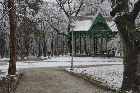 sofia: Summer-house in garden at winter, Sofia Bulgaria