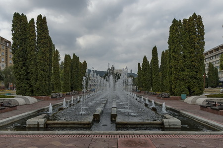 outburst: Group from many water fountains flowing in garden, Montana, Bulgaria