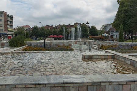 spurt: Group from many water fountains flowing in garden, Montana, Bulgaria
