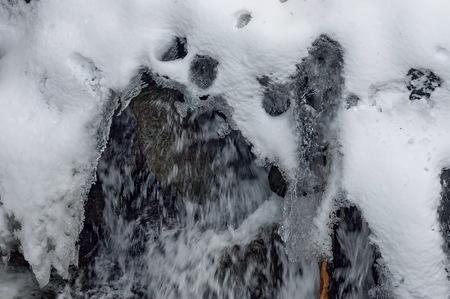 fluent: Frozen ice shape over fluent water in river, Sofia, Bulgaria