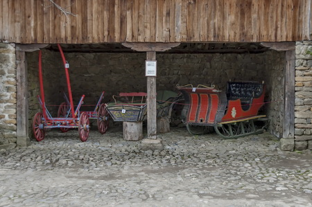 traction: Old cart and sled with horse traction in Ether, Gabrovo, Bulgaria