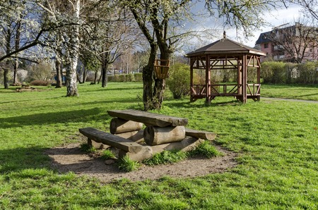 respite: Springtime view with place for respite in the park, Pancharevo, Bulgaria