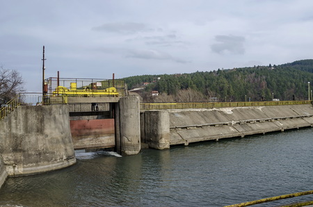 gather: Barrage and sluice of picturesque  dam, gather water of Iskar river, Pancharevo, Bulgaria