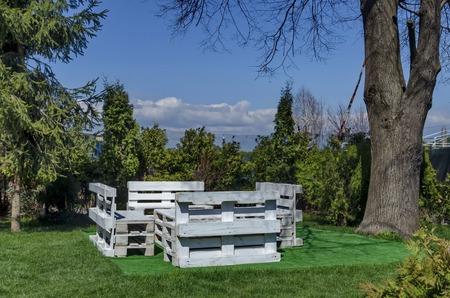 respite: Springtime view with place for respite in the garden, Pancharevo, Bulgaria