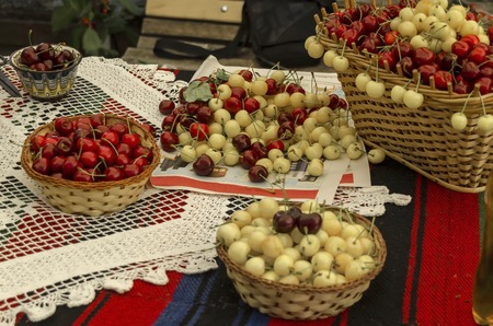 feast: Feast of cherry fruit in the Kyustendil, presentment out their production raw fruit, Bulgaria