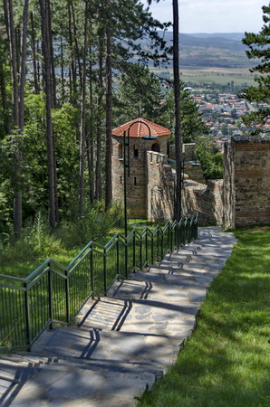 Tower with big stone wall of  castle Hisarlak, near by Kyustendil town, Bulgaria