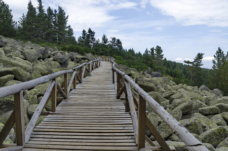 Unique stone river with big granite stones or moraine and wooden bridge in the Vitosha National Park Mountain , Bulgaria