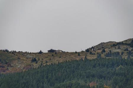Colorful autumn landscape and hut in the top, Vitosha mountain, Bulgaria