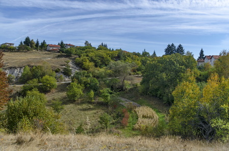 Panoramic view of autumn with villages Plana in the mountain Plana by Vitosha, Bulgaria Stock Photo
