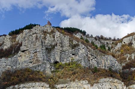 One high top of Lakatnik rocks with monument, Iskar river defile, Sofia province, Bulgaria