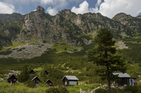 View of old wood rest-house, bivouac or bungalow by rest-house Maliovitza on the ecological   walk toward Maliovitza peak in Rila mountain, Bulgaria