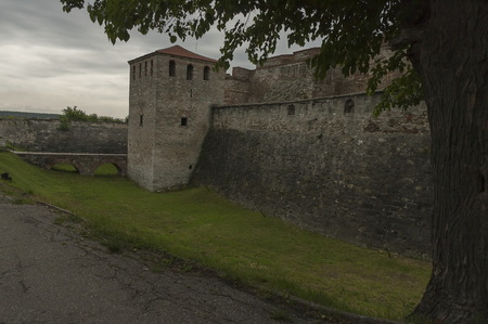 moat wall: Outside view of the medieval fortress Baba Vida  at Danube River in Vidin town, Bulgaria