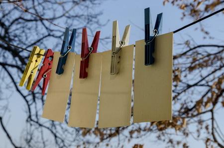 Coloured plastic clothes pins or peg on rope, Sofia, Bulgaria
