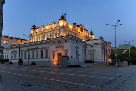 Square National Assembly with building for official use only of Bulgarian Parliament   beauty illuminated in the night, Sofia, Bulgaria