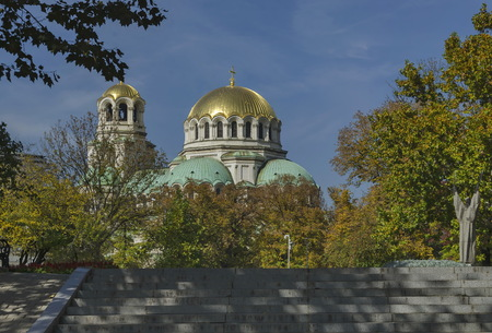 Fragment of beauty St. Alexander Nevsky Cathedral with public garden in Sofia, Bulgaria Stock Photo
