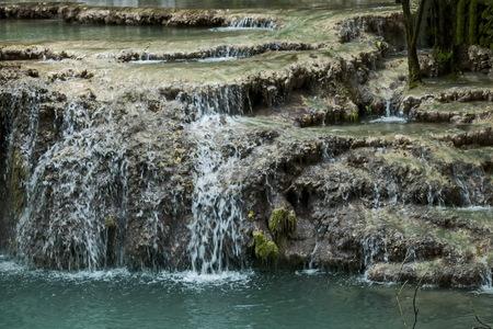 Part of the Krushuna waterfall cascade of river Proinovska near village Krushuna, Bulgaria Stock Photo