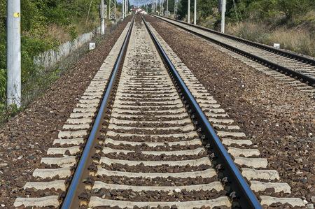 Rail-train infrastructure near village Vakarel, situated in the Sredna Gora mountain,  Ihtiman, Bulgaria