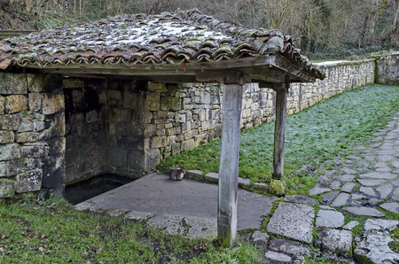 Small corner with roof oven sacred spring source in Demir Baba Teke, cult monument honored by both Christians and Muslims in winter near Sveshtari village, Municipality Isperih, Razgrad District, Northeastern Bulgaria