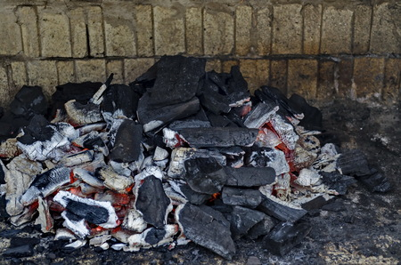Part of stove brick masonry for barbecue with charcoal on fire, town, Zavet, Bulgaria, Europe