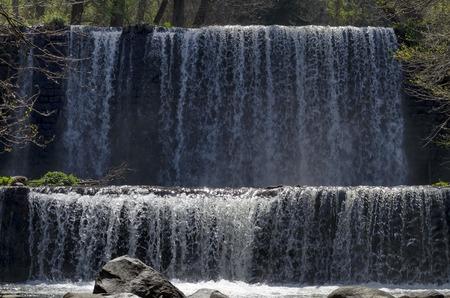 View closeup of part at waterfall cascade of river Bistritsa between village  Bistritsa and village Pancharevo, place for tourism and travel in Vitosha mountain,  Bulgaria Stockfoto