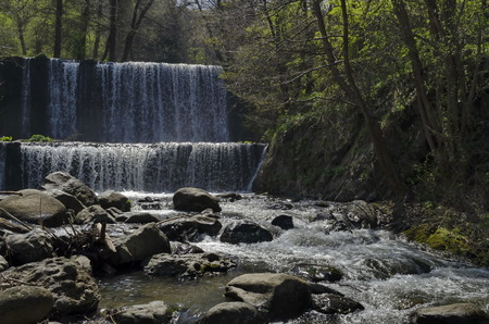 General view of Part at waterfall cascade of river Bistritsa between village  Bistritsa and village Pancharevo, place for tourism and travel in Vitosha mountain,  Bulgaria 스톡 콘텐츠