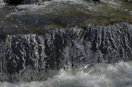 View closeup of waterfall part at cascade of river Bistritsa between village  Bistritsa and village Pancharevo, place for tourism and travel in Vitosha mountain,  Bulgaria Stockfoto