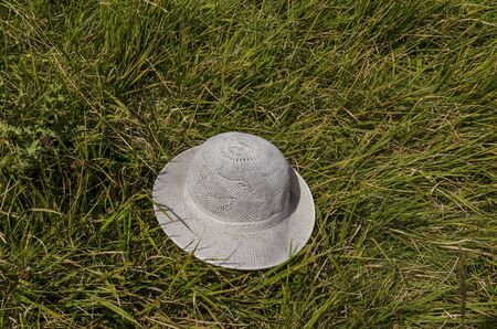 White hat abandon in the glade, Vitosha mountain, Bulgaria Imagens
