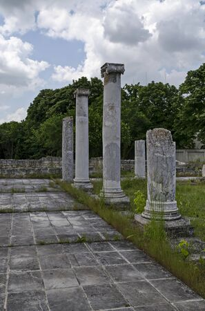 Archaeological Complex Abritus with primary conservation of part of the inner walls and columns of building in ancient Roman city in the present town Razgrad, Bulgaria, Europe
