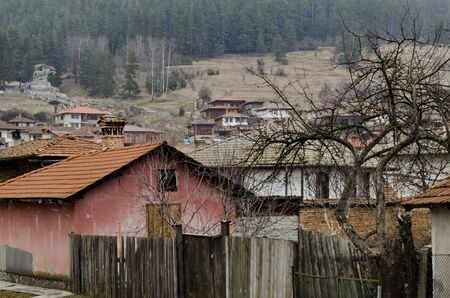 A residential district of authentic old and new bulgarian houses in town Koprivshtitsa, Bulgaria, Europe