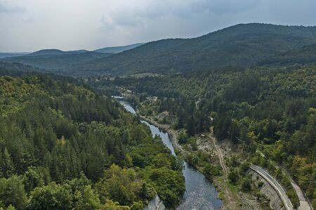 View from river Topolnitsa after Topolnitsa dam near village Muhovo, Ihtiman region, Bulgaria, Europe Фото со стока