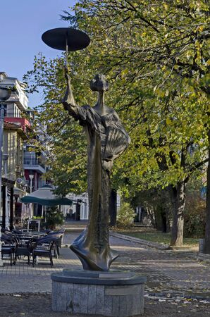 Favorite public place in town Kazanlak with a statue of a Japanese woman, built with a donation campaign by citizens, a gift for thousands of Japanese tourists, Bulgaria Фото со стока