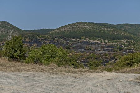 View of after forest fire in the Sredna gora mountain, Bulgaria Фото со стока