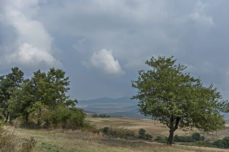 Amazing autumn view of glade, peak and deciduous trees  in Sredna gora mountain, Bulgaria Фото со стока