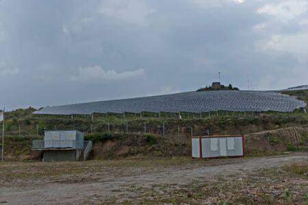Solar energy panels against cloudily sky, Sredna gora mountain, Bulgaria Фото со стока
