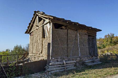 View from an old abandoned hay building near the village of Zhrebchevo, Bratsigovo municipality, Rhodope mountains, Bulgaria Фото со стока