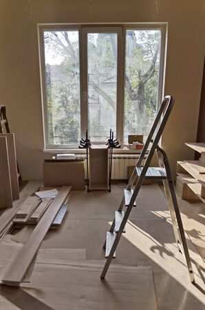 Renovation of a room with some tools for cutting and assembling furniture, Sofia, Bulgaria
