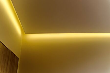 Fragment of a recently painted room with modern LED lighting, Sofia, Bulgaria