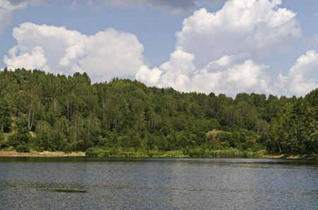 Landscape with floating island, part peat two metre deep with vegetation and animals in Vlasina mountain lake, anchored to the shore by land, South eastern Serbia, Europe