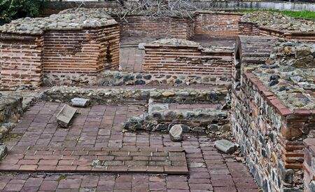 """View of some of the preserved ruins of the late antique public complex, """"Constantine's Quarter"""" of Serdika-Sredets, Sofia, Bulgaria"""