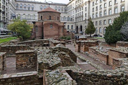 St George Rotunda church among the ruins of the ancient town of Serdika, Sofia, Bulgaria, Europe