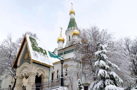 Russian Orthodox Church St. Nicholas the Wonderworker or Miracle Worker in winter, Sofia, Bulgaria, Europe