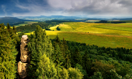 Landscape view from ruins of Castle Rocks in the national nature reserve Adrspach-Teplice, Czech republic, Europe. Stock Photo